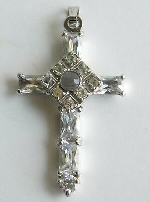 Vintage Estate Silver Cross Jeweled with Faceted Rhinestones Crystal Pendant