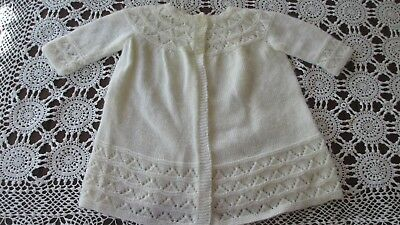 Vintage style Baby knitted cardigan White,beautifully handmade by grandma,soft