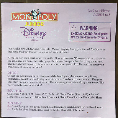 Monopoly Junior Disney Princess Edition Game Replacement Chance