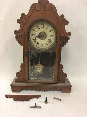 CLOCK Vintage mantel wood Hand carved with 2 pc glass door Not working Large