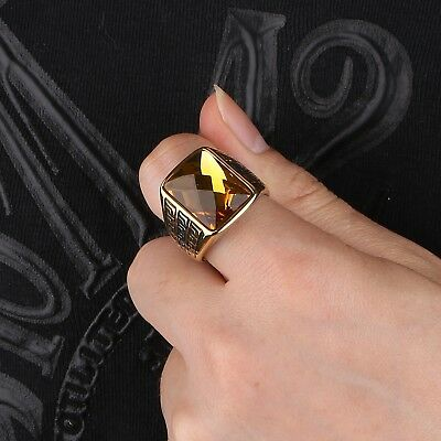 Mens Gold Stainless Steel Princess Citrine CTR CZ Gemstone Celtic Band Rings