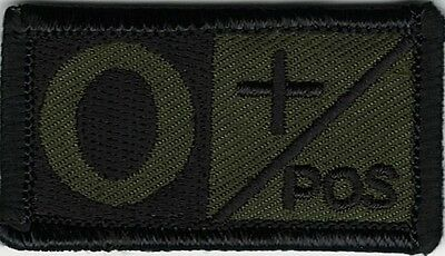 Olive Green Black Blood Type O+ Positive Patch VELCRO® BRAND Hook Fastener Compa