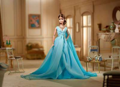Gold Label Silkstone Barbie Blue Chiffon Ball Gown Doll DYX74 NEW