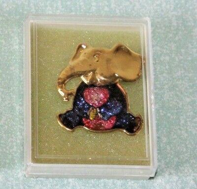 Vintage CLOISONNE' ELEPHANT PIN brooch FIGURAL Kitty Gold-Tone Taiwan New NOS
