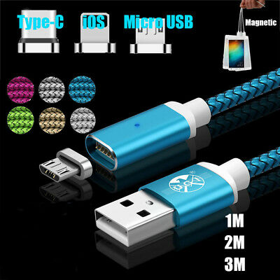 1-3M Magnetic Fast 3 in1 Micro USB Type-C Lightning Charging Data Sync Cable lot