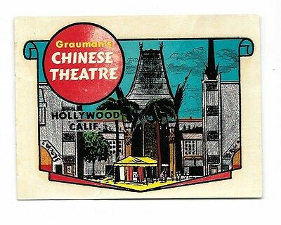 Vintage Grauman's Chinese Theater Luggage or Vehicle Label - Wet and Stick