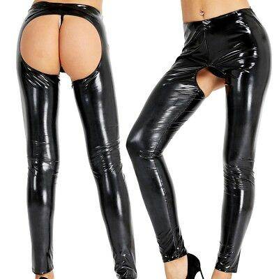 Women Leather Open Crotch Legging Trousers Open Butt Pants Skinny Stretchy Tight