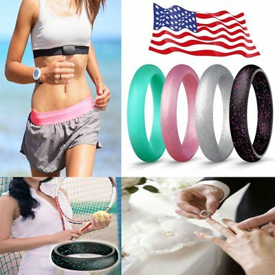 Women Girls Silicone Rubber Band Rings Wedding Workout Gym Flexible Gifts Egnaro