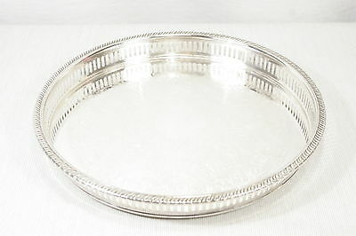 "Vintage Classic 12"" Round Pierced Silverplate Serving Tray by Viking Canada EXC+"