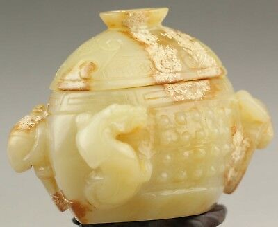 Chinese old natural jade hollowed-out statue dragon brush washer Incense burner