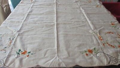 Vintage Embroidered  Linen Tablecloth to Finish orange flowers130 x 130 cms