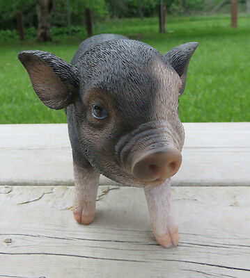 Small PIG 5 in.H X 9 in. L. spotted STANDING animal farm piglet oinker resin NEW