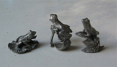 Trio Of Pewter Frogs Good Detail