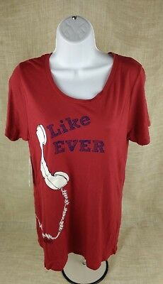 TAYLOR SWIFT Womens T-Shirt Top Size M Like Ever Concert Tour Red Short Sleeves