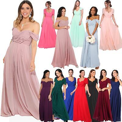 Womens Formal Evening Wedding Maxi Prom Dress Long On Off Shoulder Ball Gown