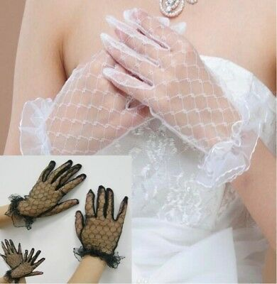 Gothic Steampunk Ladies Mesh Stretchy Short Full-Finger LACE GLOVES Black/ White