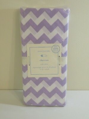 Pottery Barn Baby Lavender Harper Chevron Crib Bed Skirt New Free Shipping