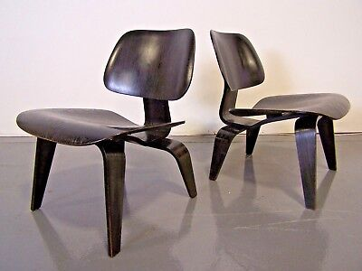 Matched PAIR Early Black Analine Herman Miller LCW Chairs Eames FREE  SHIPPING!