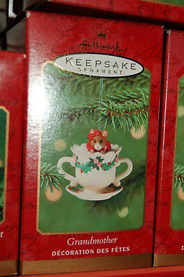 Hallmark 2001 Grandmother mouse teacup tea Ornament kitchen porcelain