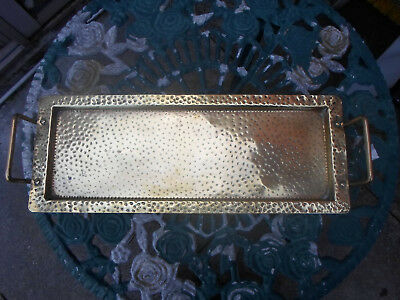 Rare Arts and Crafts Large  Brass Handled Sandwich / Cake Tray / Plate