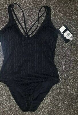 c7d09194ee03a Marilyn Monroe Black Lace Crochet Lined One Piece Swimsuit Size L NWT 💟