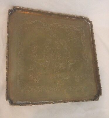 Chinese Etched Brass Tray Square Vintage Detailed
