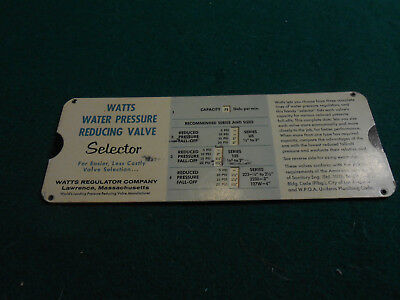 Watts WATER PRESSURE REDUCING VALVE SELECTOR CALCULATOR HVAC Design Aid