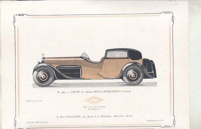 1934 Isotta Fraschini 8A Coupe Town Car ORIGINAL Print French wz3215