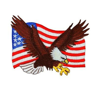 Bald Eagle American Flag Patch Patriot USA Freedom Embroidered Iron On Applique