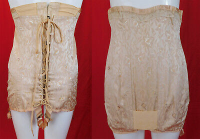 Vintage P.N. Practical Front Corset Pink Brocade Orchid 1920s Girdle Garters