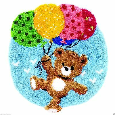 Bear With Balloons Latch Hook Kit by Vervaco 55x62cm includes tool & binding