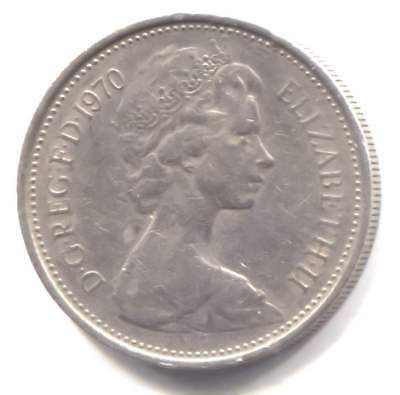 Great Britain 1970 Five New Pence Coin United Kingdom England Queen Elizabeth II