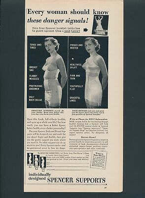 Print Ad~Vintage~1950~Spencer Supports~Before & After~Bra~Girdle~F200