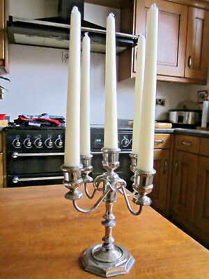 Old Antique Victorian Style Silver Plate 5 Branch Candelabra English made c1970