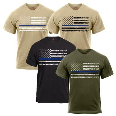 Rothco Thin Blue Line, Police Law Enforcement Support Flag T-Shirt