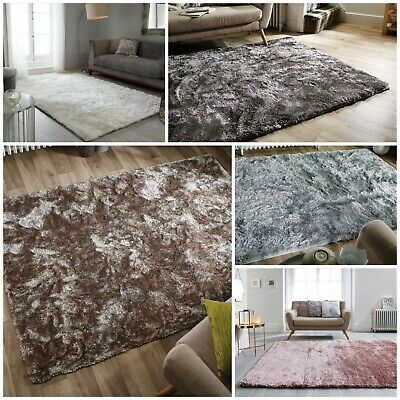 Serenity Super Soft Deep Pile Shaggy Rug In Pink Duckegg