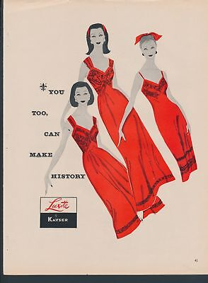 Print Ad~Vintage~1950s~Luxite by Kayser~Red Slip / Night Gown~F200