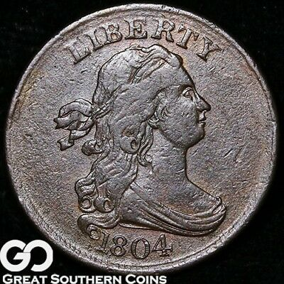 1804 Half Cent, Draped Bust, Choice XF++ Early Copper ** Free Shipping!