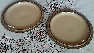 "2 x DENBY SONNET 8.5"" Salad Plates. Tan centre with brown/ green speckled rim"