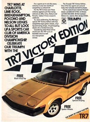 1977 Triumph TR-7 Victory Edition ad - Yellow version - Motor Trend 10/76 VG