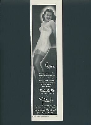Print Ad~Vintage~1940s Tailored to Fit~Formfit~Girdle~Brunette~F300