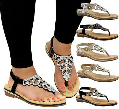8cba162021f64 Ladies Womens Summer Beach Party Toe Post Low Wedge Diamante Sandals Shoes  Size