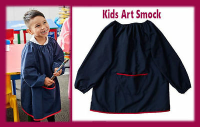 KIDS ART SMOCK Sz 5 - 7 LONG SLEEVE Paint Shirt APRON  Navy Blue Poly/Cotton NEW