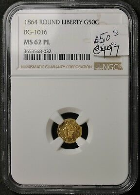 1864 Round Liberty Gold 50 Cent.  BG-1016.  In NGC Holder.  MS62PL.   e497