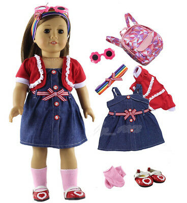7 PCS Set Doll Clothes Outfit Fit for 18 inch American Girl Doll Outfit a07
