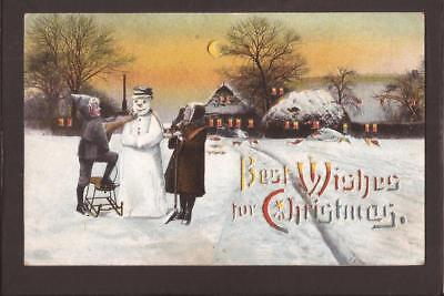 Early Chromo Hold-To-Light Postcard. Snowman in Winter Scene. 1911.
