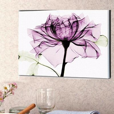UK Purple Light Flower Oil Canvas Painting Home Wall Decor Art Picture Rose Gift