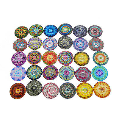 12-25mm Floral Bohemian Psychedelic Mandala DIY Glass Cameo Flatback Cabochons
