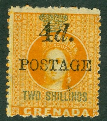 SG 41 Grenada 1888. 4d on 2/- orange. Fine mounted mint CAT £50