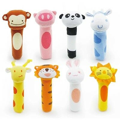 New Zoo farm Animal Rattle Squeaker bar soft Baby infant Toddler Educational Toy